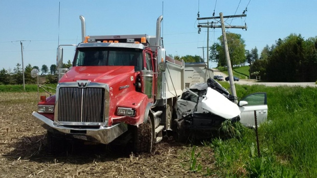 The driver of an SUV was killed in a collision with a dump truck at Road 34 and Line 71 in Zorra Township.
