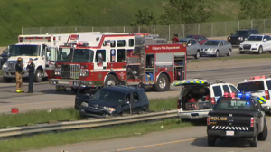 The crash happened in the northbound lanes of Deerfoot Trail, south of the Memorial Drive exit.