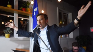 Quebec Solidaire candidate Gabriel Nadeau-Dubois speaks to supporters after winning the provincial byelection in the Montreal riding of Gouin on Monday, May 29, 2017. THE CANADIAN PRESS/Ryan Remiorz