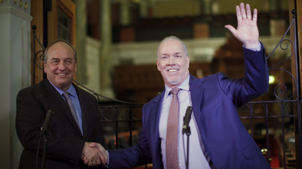 B.C. Green party leader Andrew Weaver and B.C. NDP leader John Horgan speak to media after announcing they'll be working together to help form a minority government. Monday, May 29, 2017. (THE CANADIAN PRESS/Chad Hipolito)