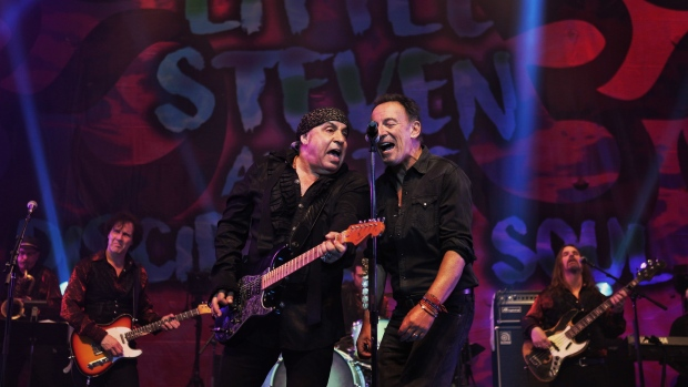 In this Saturday, May 27, 2017 photo, Bruce Springsteen, right, performs at the Count Basie Theatre in Red Bank, N.J., with rocker Steven Van Zandt, left, during the show's encore. (Amanda Stevens/Count Basie Theatre via AP)