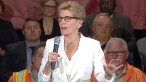 Ontario Premier Kathleen Wynne makes an announcement, Tuesday, May 30, 2017.
