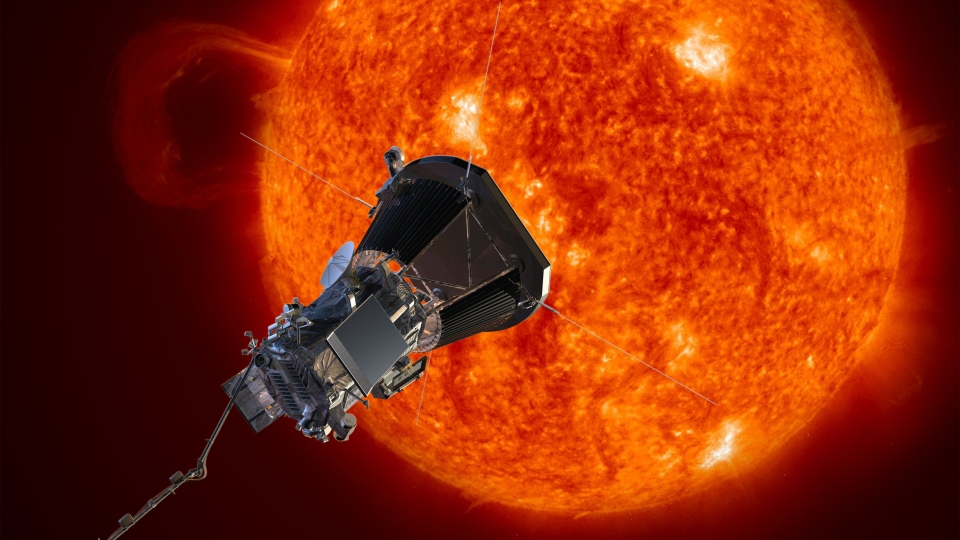 This concept art shows the Solar Probe Plus spacecraft approaching the sun. (NASA / Johns Hopkins University Applied Physics Laboratory)