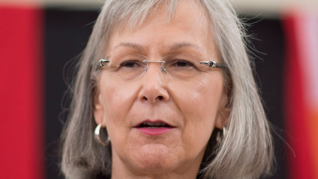 Chief Commissioner Marion Buller addresses the media during a media availability at the National Inquiry into Missing and Murdered Indigenous Women and Girls taking place in Whitehorse, Yukon, on May 29, 2017. (Jonathan Hayward / The Canadian Press)