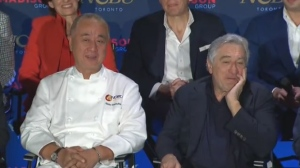 Robert De Niro and Nobu Matsuhisa speak at a news conference in Toronto regarding the future Nobu Toronto development.