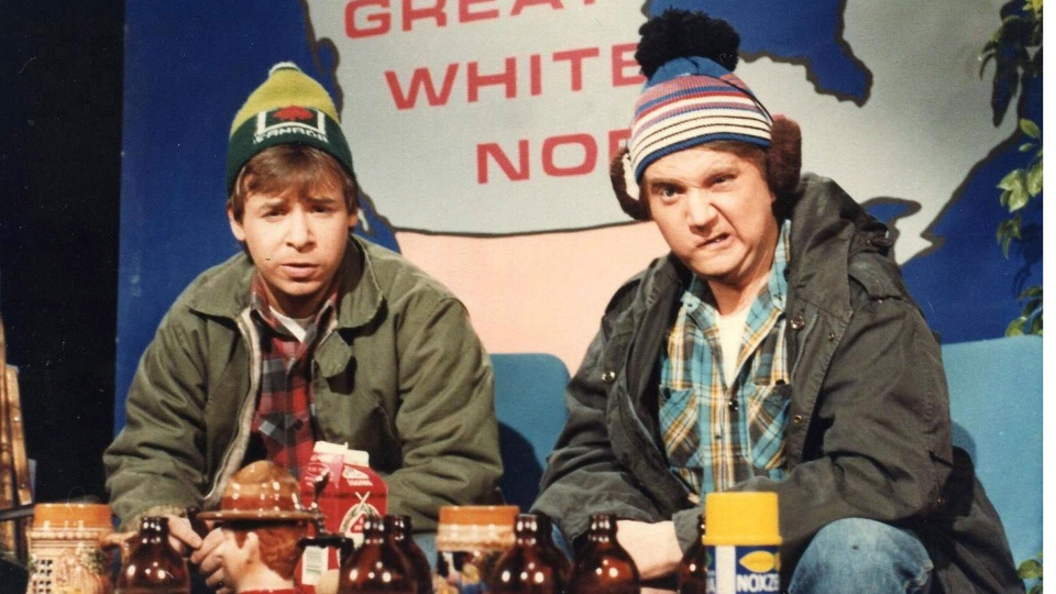 Rick Moranis, left, and Dave Thomas as the characters Bob and Doug McKenzie in a scene from the 'SCTV' comedy series. (THE CANADIAN PRESS)