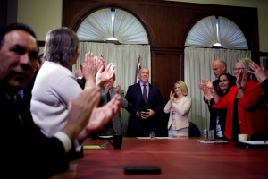 B.C. NDP Leader John Horgan delivers opening remarks to the New Democrat caucus before reviewing the agreement during a press conference at Legislature in Victoria, B.C., on Tuesday, May 30, 2017. (Chad Hipolito / THE CANADIAN PRESS)