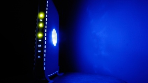 An LED-illuminated wireless router in Philadelphia, photographed on July 27, 2008.  (Matt Rourke / AP)