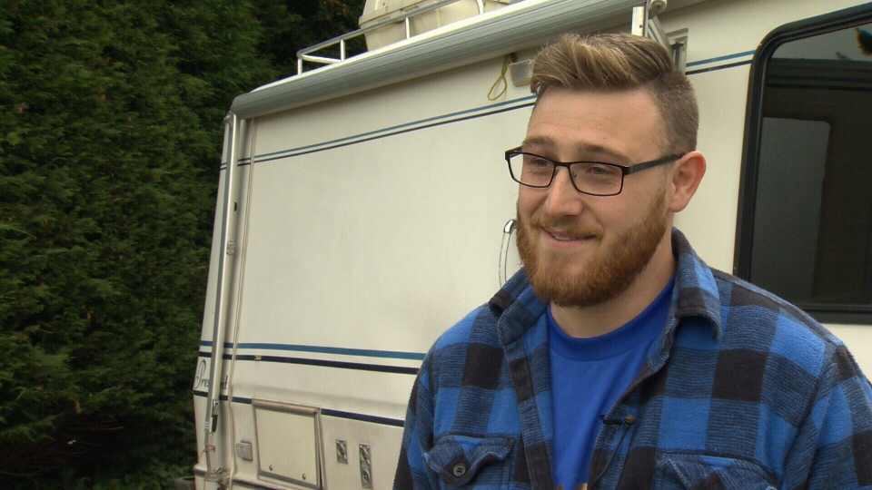 Sean Ramsay was filling up a propane tank at an RV Park on View Royal Tuesday when he was indirectly struck by lightning. May 31, 2017. (CTV Vancouver Island)