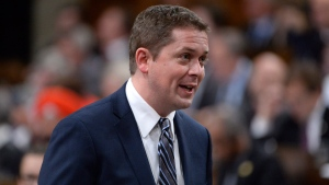 Conservative Leader Andrew Scheer asks a question during question period in the House of Commons on Parliament Hill in Ottawa on May 30, 2017. (Adrian Wyld/THE CANADIAN PRESS)