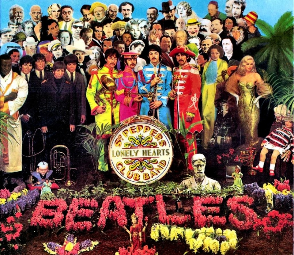 The cover of the Beatles' 1967 album 'Sgt. Pepper's Lonely Hearts Club Band' is shown.