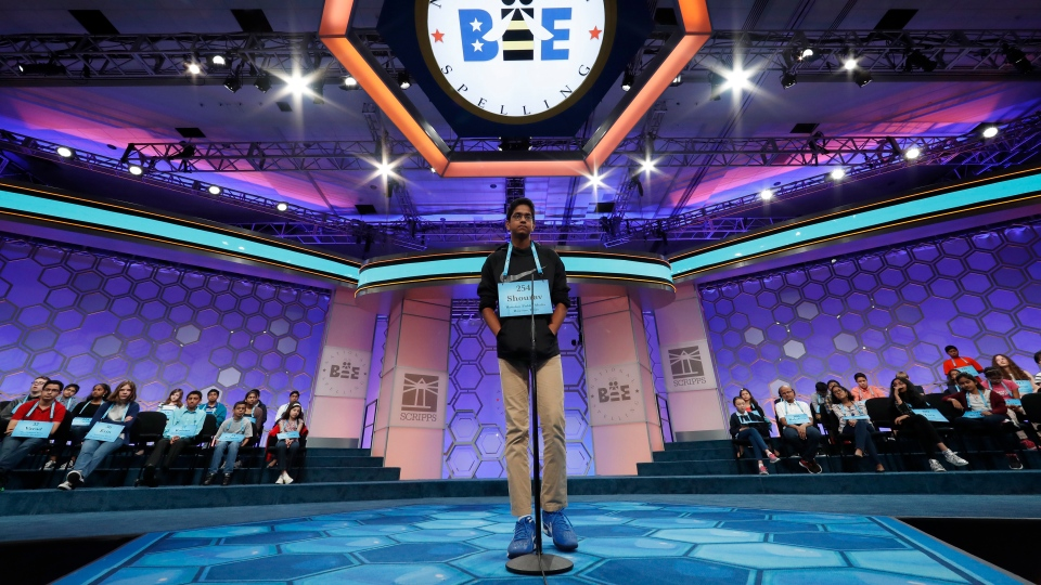 Shourav Dasari, 14, from Spring, Texas, spells his word during the 90th Scripps National Spelling Bee, Thursday, June 1, 2017, in Oxon Hill, Md. (AP Photo / Alex Brandon)