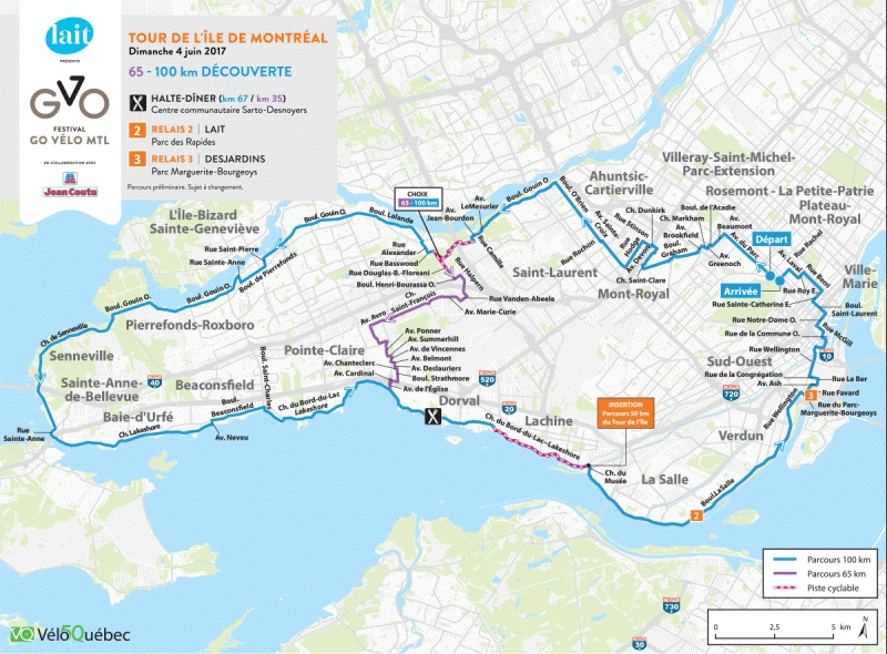 The West Island route for Tour de L'Ile on June 4, 2017