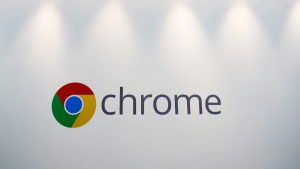 The Chrome logo displayed at a Google event, in New York, on Oct. 8, 2013. (Mark Lenniha / AP)