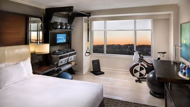 In-room fitness in Hilton hotel