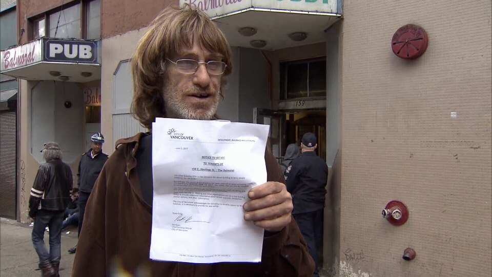 Nearly 150 people who live at the Balmoral Hotel in Vancouver's Downtown Eastside have been given 10 days to vacate the property. June 2, 2017. (CTV)