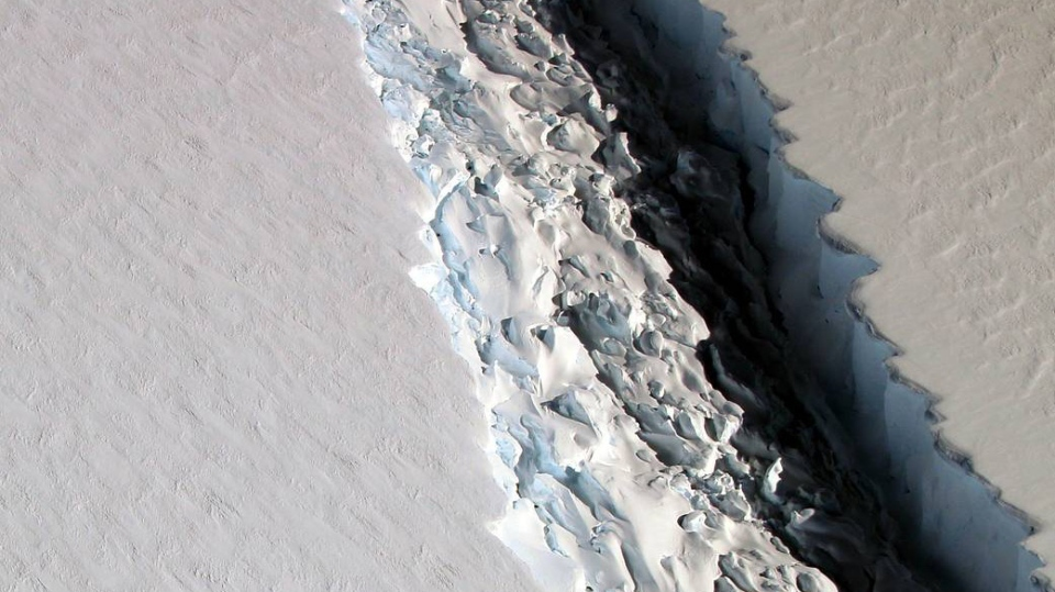 This Nov. 10, 2016 photo shows the rift in the Larsen C ice shelf in Antarctica that scientists say grew by 17 kilometres in just six days at the end of May. A break off of a piece significantly larger than Prince Edward Island is expected to come soon. (NASA/John Sonntag)