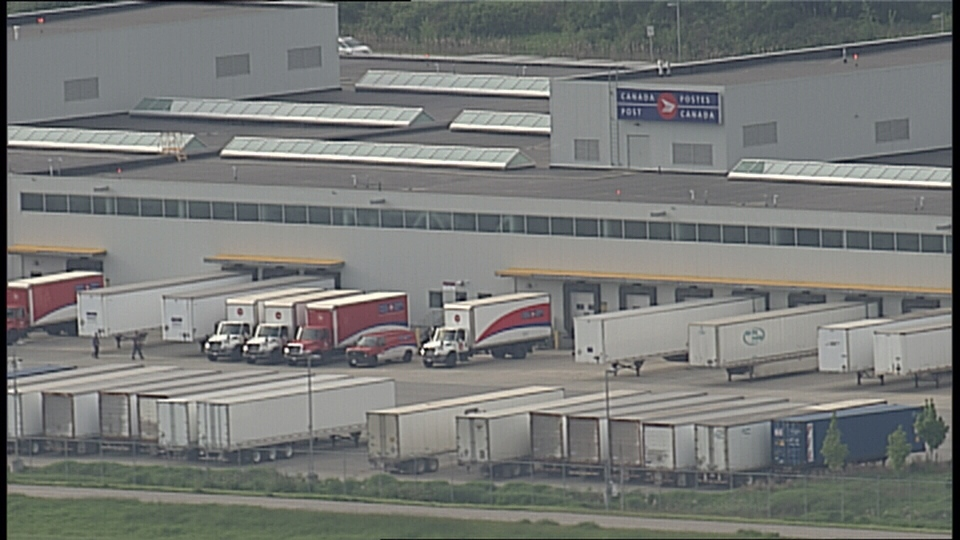 Trailers sit outside the Pacific Processing Centre in Richmond. (CTV)