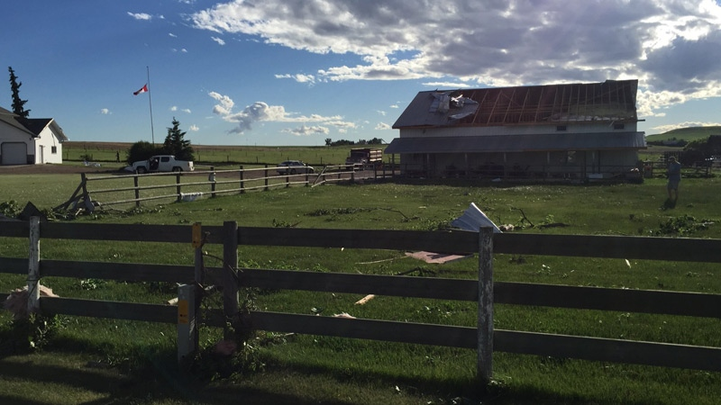 barn near three hills damaged after tornado touches down