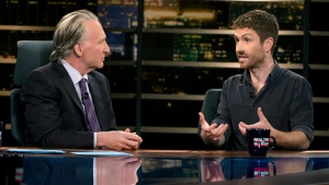 "In this photo provided by HBO, Bill Maher, left, speaks with Sen. Ben Sasse of Nebraska during a segment of his ""Real Time with Bill Maher,"" Friday, June 2, 2017. (Janet Van Ham/HBO via AP)"