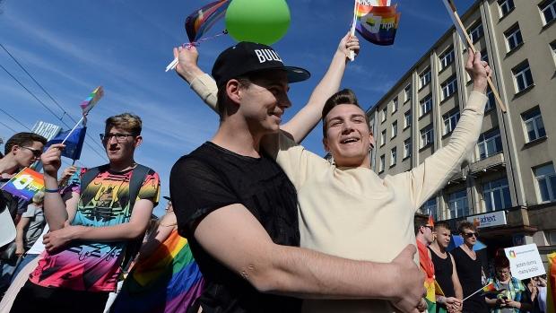 Gay rights parade in Warsaw, Poland