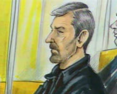 Gerald Gallant is shown in a courtroom sketch during a 2007 court apperance in Quebec City. (THE CANADIAN PRESS / Yannick Lemay)