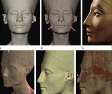 The bust of Nefertiti is shown in this undated photo composite released Tuesday, March 31, 2009 by the Radiological Society of North America. (AP Photo/Radiological Society of North America)