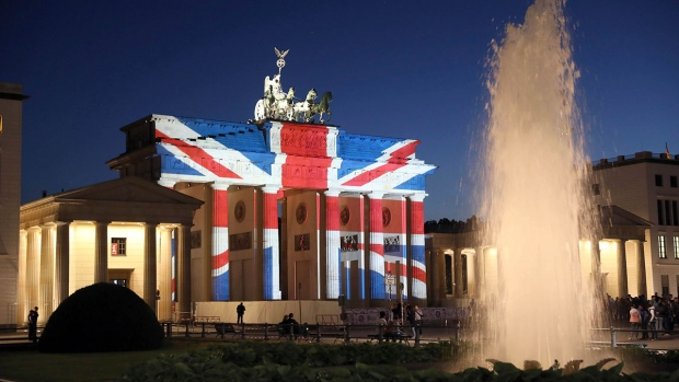 A view of the Brandenburg Gate in Berlin after it was illuminated in the colors of the British union flag Sunday June 4, 2017 as a mark of respect for the people killed in the attacks in London on Saturday night. (Joerg Carstensen / AP)