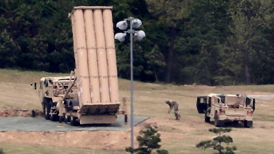 U.S. missile defence system called Terminal High Altitude Area Defense, or THAAD, on a golf course in Seongju, South Korea, on May 2, 2017. (Kim Jun-beom / Yonhap / AP)