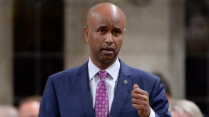 Minister of Immigration, Refugees and Citizenship Ahmed Hussen responds to a question during question period in the House of Commons on Parliament Hill in Ottawa on Wednesday, May 31, 2017. (THE CANADIAN PRESS/Adrian Wyld)