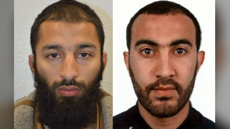 Khuram Shazad Butt (left) and Rachid Redouane (right) are seen in this undated image distributed by London police.