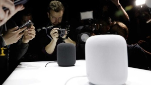 The HomePod speaker is photographed in a a showroom during an announcement of new products at the Apple Worldwide Developers Conference Monday, June 5, 2017, in San Jose, Calif. (AP Photo/Marcio Jose Sanchez)