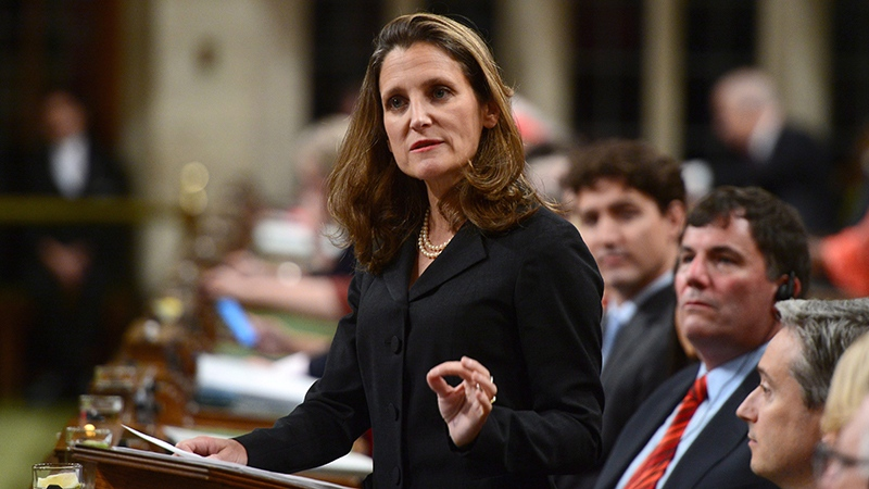Minister of Foreign Affairs Chrystia Freeland delivers a speech in the House of Commons on Canada's Foreign Policy in Ottawa on Tuesday, June 6, 2017. (THE CANADIAN PRESS/Sean Kilpatrick)
