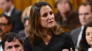 Minister of Foreign Affairs Chrystia Freeland delivers a speech in the House of Commons on Canada's Foreign Policy in Ottawa on Tuesday, June 6, 2017. THE CANADIAN PRESS/Sean Kilpatrick