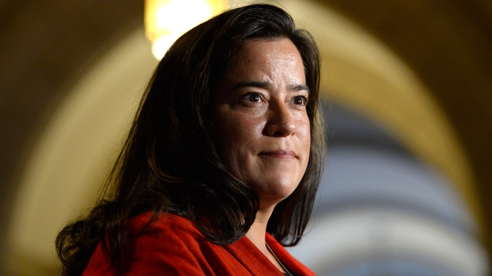 Minister of Justice Jody Wilson-Raybould speaks to members of the media on Parliament Hill in Ottawa on Tuesday, June 6, 2017. THE CANADIAN PRESS/Adrian Wyld