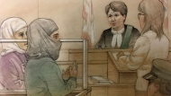 A suspect charged in connection with an incident at a Scarborough Canadian Tire location appears in court on June 6, 2017. (Sketch by John Mantha)