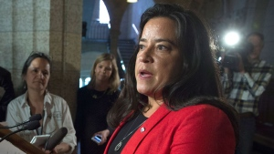 Justice Minister Jody Wilson-Raybould speaks with the media following caucus on Parliament Hill in Ottawa, Tuesday June 6, 2017. (Adrian Wyld / THE CANADIAN PRESS)