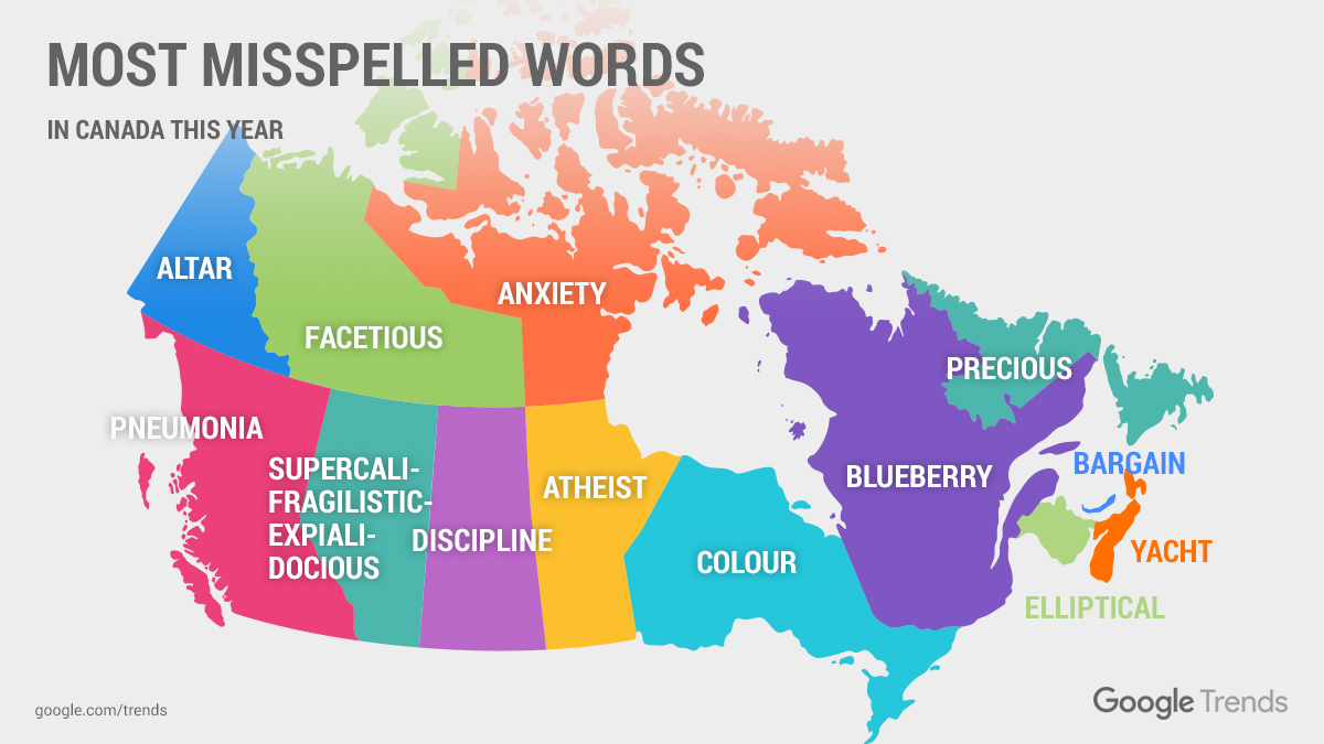 Google Reveals Top 'how To Spell' Searches By Canadian Province: Map Of Provinces Of Canada At Infoasik.co