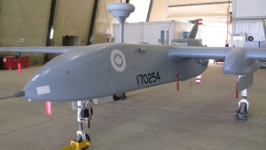 In this July 5, 2010 photo, a Heron spy drone, operated by the Canadian military, sits in a hangar at Kandahar Airfield. (THE CANADIAN PRESS/Bill Graveland)