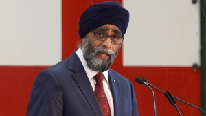 Defence Minister Harjit Sajjan unveils the Liberal government's long-awaited vision for expanding the Canadian Armed Forces in Ottawa on Wednesday June 7, 2017. Canada will increase defence spending by $13.9 billion over the next decade. THE CANADIAN PRESS/Adrian Wyld