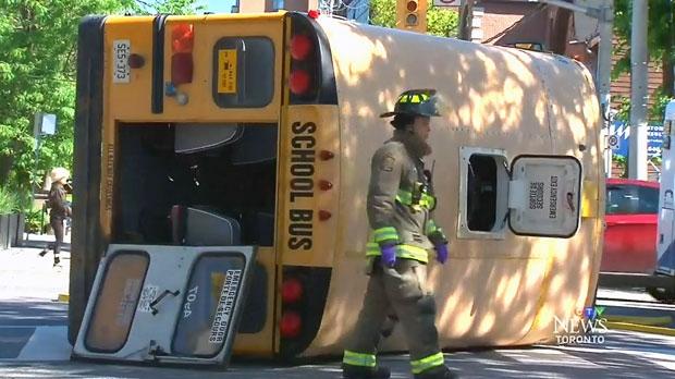 School bus flips over in Corktown