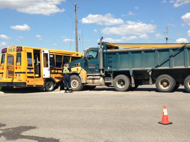 School bus and gravel truck collide on June 7, 2017. (Reta Ismail/CTV)
