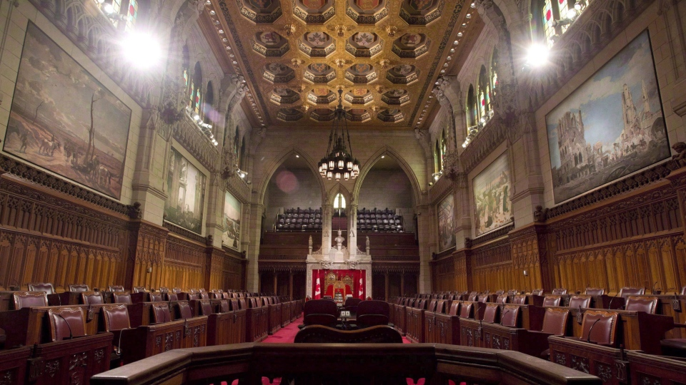 The Senate chamber sits empty on September 12, 2014 in Ottawa. (THE CANADIAN PRESS/Adrian Wyld)