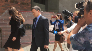 Former RCMP spokesperson Tim Shields arrives at provincial court in Vancouver for his sexual assault trial. June 7, 2017. (CTV)