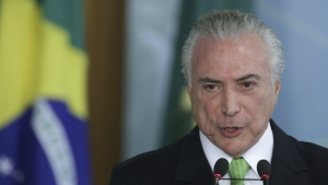 Brazil's President Michel Temer speaks during a ceremony marking World Environment Day at Planalto presidential palace in Brasilia, Brazil on June 5, 2017. (AP / Eraldo Peres)