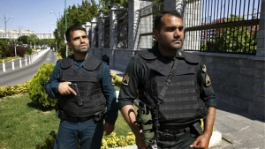 Police patrol outside Iran's parliament building in Tehran, Iran on Wednesday, June 7, 2017. (AP / Ebrahim Noroozi)