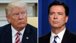 U.S. President Donald Trump on May 10, 2017, and James Comey on June 30, 2014. (Evan Vucci, left, and Susan Walsh / AP)