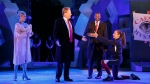 Tina Benko, left, portrays Melania Trump and Gregg Henry, center left, portrays President Donald Trump in the role of Julius Caesar during a dress rehearsal of The Public Theater's Free Shakespeare in the Park production of Julius Caesar, in New York on May 21, 2017. (Joan Marcus / The Public Theater)