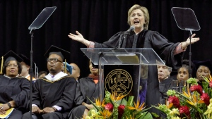 Hillary Clinton delivers the commencement address to Medgar Evers College graduates at Barclay's Center, in Brooklyn, N.Y., on June 8, 2017. (Richard Drew / AP)
