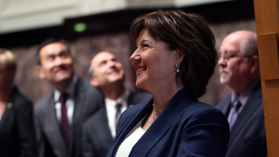 B.C. Premier Christy Clark waits before officially being sworn-in during a ceremony at Legislature in Victoria, B.C., on June 8, 2017. (Chad Hipolito/THE CANADIAN PRESS)